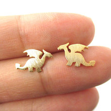 Min 1pc Small Dragon Silhouette with Wings Animal Shaped Stud Earrings in Gold  Handmade Animal Jewelry ED077