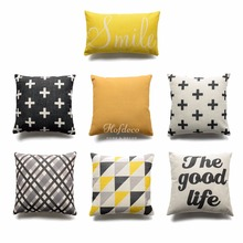 Decorative Throw Lumbar Pillow Case Smile Good Life Yellow Black Geometric Cotton linen HEAVY WEIGHT FABRIC Sofa Cushion Cover