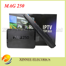 3pcs/lot Hot sale Mag 250 iptv box linux set top box not include Iptv Account Mag 250 iptv tv linux system