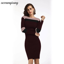 Women Sexy Sweater Knitted Dress 2017 Autumn Winter Strip O Neck High Waist Bodycon Mini Solid Long Sleeve Knitted Pencil Dress(China)
