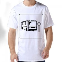 O-Neck men Clothing short-sleeved Bus stop icon Design Gildan Premium Cotton Adult Standard Weight T-Shirt(China)