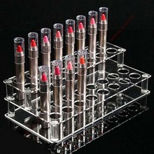 Transparent Acrylic 2 Layers Exhibition Stand Lipstick Makeup Jewelry Storage Display Box(China)
