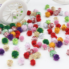100Pcs/Lot Christmas hat decoration Children's educational toys Manual materials wholesale glitter powder wool ball Size 10mm