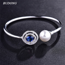 BUDONG New Fashion Female Copper Open Imitation Pearl Bangle for Women Silver color Bracelet CZ Zircon Wedding Jewelry Z044