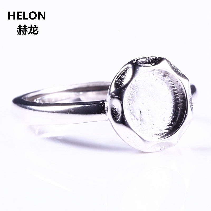 5pcs/lot 925 Sterling Silver 7x7mm Round Cabochon Semi Mount Women Engagement Ring Fine Jewelry Setting White Gold Color