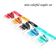 colorful mini stapler set with 1000 pcs 12#staples office and school stationery supplies(China)