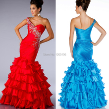 2014 Fashionable One Shoulder Tiered Beaded Backless Red Blue Mermaid Formal Evening Prom Dresses