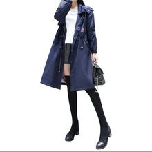 2017 New Fashion Trench Coat For Women Long Style Pocket Quality Full Sleeve Spring Autumn Female Outwear Women's Windbreaker