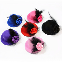 Dog Hair Clips Wholesale Mixed Colors Teddy Lace Bow Hat Rose Pet Supplies Accessories 30pcs/lot