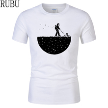 RUBU Hot sale summer men t-shirt novelty design Develop The Moon cotton brand men's t shirt harajuku fitness Funny Tees tops(China)