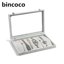 bincoco Clear Lid 20 Hooks Jewelry Necklaces Tray Showcase Display glass case for ncklace organize box necklaces shows for shop