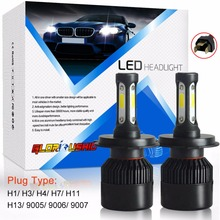72W 8000LM H7 H4 LED H11 H1 H3 H13 9005 9006 9007 Car LED Headlight COB Chip Auto Fog Lamp Bulb 6500k Pure White Car Styling