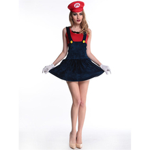 Green/Red hat sexy female Marie Halloween costume game clothing fun disfraces de halloween para las mujeres(China)