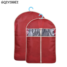 GQIYIBBEI 3Pcs/set Non-woven Garment Suit Coat Protector Dust Cover Transparent Wardrobe Storage Bag For Clothes Organizador(China)