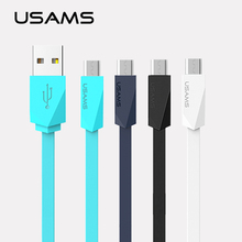 USAMS Rhombus Flat Micro USB Cable 1M Charging Mobile Phone Cable For Samsung Galaxy S7 Android phone charger cable