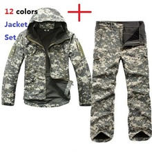 Mannen Outdoor Sport TAD Gear Soft Shell Camouflage Tactische Jas Set Leger Waterdichte Jacht Kleding Jas Militaire Jas Broek(China)