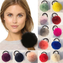 8 cm Rabbit Fur Ball Headband Girls Ponytail Holder Elastic Rubber Ribbon Hair Band Headwear Pompoms Wrap Hairband Accessories