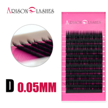 Arison lash 1 pc 0.05mm D Curl False Eyelash Extensions Thin and Soft Material 3d 6d Voluming Lashes Tray Lash extension(China)