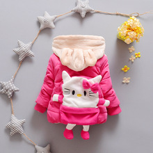 kids coats girls jackets and coats cotton warm lovely hello kitty hoodies toddler cartoon casual outerwear coats(China)