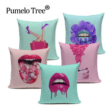 Creative Fashion Cushion Cover Pink Kiss Throw Pillow Flower Gun Donut Cotton Linen Decor Home Sofa for Car Custom Pillow Case(China)