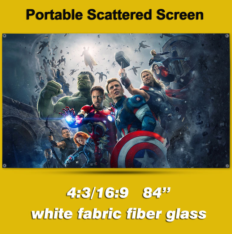 84 inches 4:3 Portable Scattered Screen Wall Mounted White Fabric Fiber Glass Projector Screen for LED LCD HD Movie Projection<br><br>Aliexpress