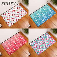 Smiry 40*60cm flannel light thin mats dense colored anchor life buoy pattern rugs durable muti-purpose in front of door carpets(China)