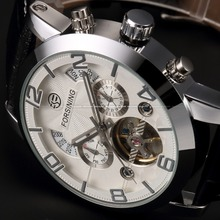 Automatic Stainless Silver Steel Case Black Leather Strap White Dial Date Day Year Month Display Men Casual Mechanical Watch(China)