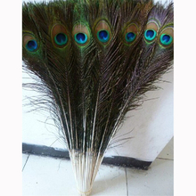 100Pcs 28-32 Inch (70-80CM) Plumas Boa Natural Peacock Eye Tail Wedding DIY Clothes Decoration Peacock Feathers
