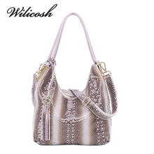 Wilicosh Fashion Snake Pattern Cow Genuine Leather Women Shoulder Bag Female Top Tote Handbag Lady Classic Messenger Bag YF004