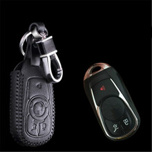 Car Genuine Leather Bag Remote Control Car Keychain Key Cover Case For Buick Envision 3Buttons Smart Key  L642