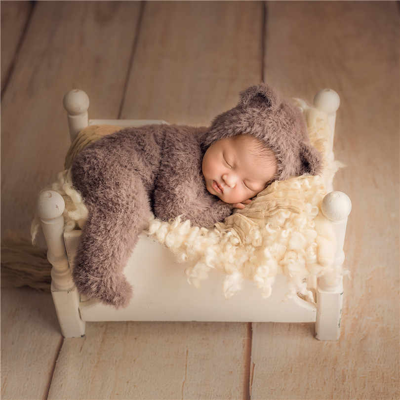 3228e7cf2c6 Baby Boy Outfit Fuzzy Knitted Teddy Bear Hat Footed Romper Set Crochet  Newborn Overalls Brown Newborn