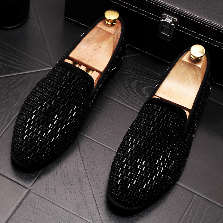 2019 New Gradient Striped Rhinestones Loafers shoes SmokingSlippers Dress Wedding Party Flats Casual Moccasins shoe 50 Online shopping Bangladesh