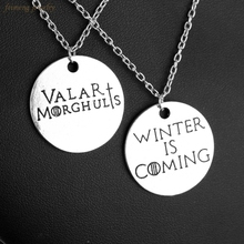 Hot Game of Thrones Letter Winter is Coming Valar Morghulis Pendant Necklace Top Grade Quality Metal Alloy  Jewelry Best Gifts