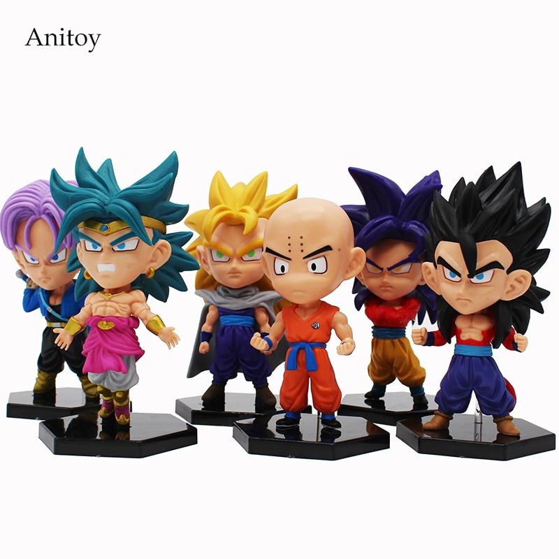 6 pcs/set Dragon Ball GT Super Saiyan Son Goku Son Gohan Krillin Trunks Broli PVC Figures Collectible Model Toys 11~13cm KT4208<br>
