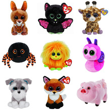 TYpe Beanie Boos Plush Stuffed Animals Collection Cute Big Eyed Bat Spider Pink Pig Reindeer Chick Ghost Owl Fox 15cm Toys Gifts
