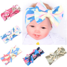 New Arrival Print Camouflage Cotton Turban Headband For Infant Baby Children Knotted Bow Stretch Hair Band Head Wrap