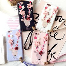 Luxury charming sika deer soft phone case for iphone6 6s 6plus cover case with chain for iphone7 7plus shell phone case