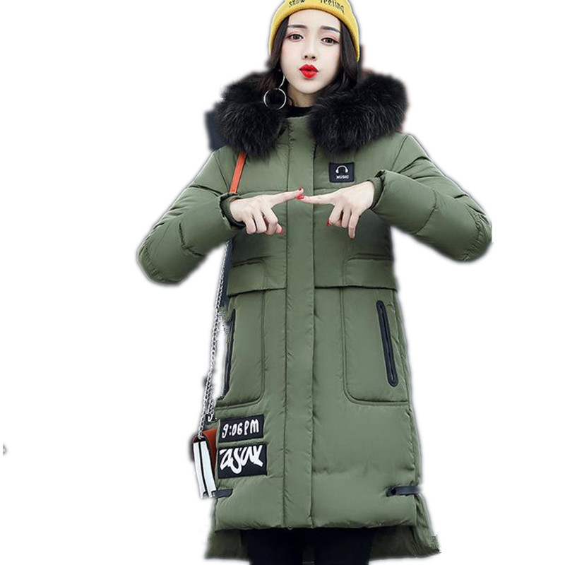 2017Fashion New Winter Women Down Cotton Coat Parkas Female Long Thicken Hooded Fox Fur CollarSize M-3XL Five Colors JacketCQ178Îäåæäà è àêñåññóàðû<br><br>