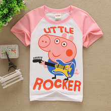 2016 summer style Girls boys 100%cotton t-shirt cartoon pink red pig kids Baby clothes music Tops&Tees girlstops bobo choses