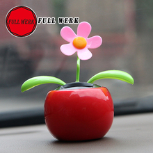 1pc Moving Dancing Solar Power Flower Flowerpot Swing Solar Car Toy Gift Decoration Ornaments Car Home Decorating Plants
