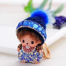 NEW PROMOTION MONCHICHI CHRISTMAS BLING HAT TOP GRADE A++++ RHINESTONE KEY CHAIN&RING FOR BAG HANDBAG PURSE CHARMS ACCESSORY