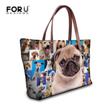 FORUDESIGNS Cute Poodle Pug Dog Women Shoulder Bags Animal Pattern Ladies Top Handle Bags Tote Bolsas Large Handbags Shopping