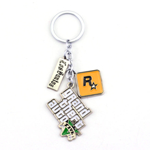PS4 GTA 5 Game Keychain Grand Theft Auto 5 Key Chain For Fans Xbox PC Rockstar Key Ring Holder Chaveiro Llaveros