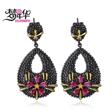 DreamCarnival 1989 Fuchsia Red Flower CZ Earrings for Women Wedding Bijuox Luxury Black Gold Color Drop Dangle boucle d'oreille(China)