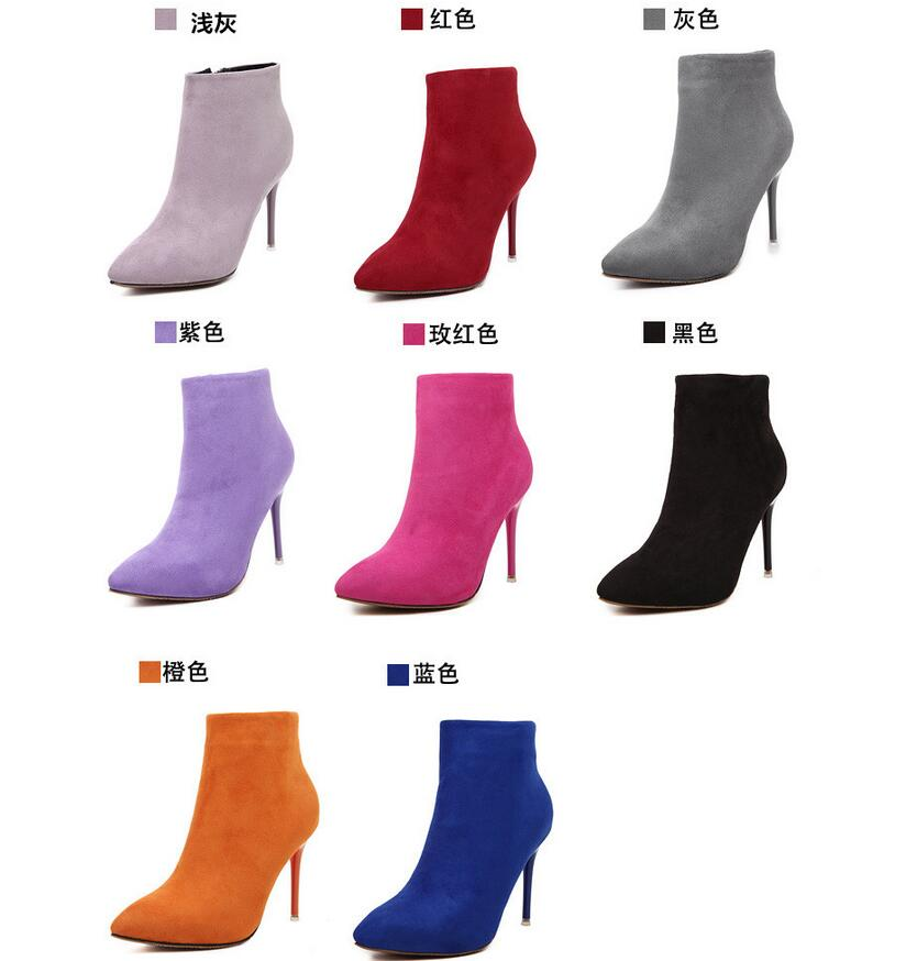 2017 Autumn New Women Fashion Boots Side Zipper High-heeled Boots Stiletto Ankle Boots Free Shipping<br><br>Aliexpress