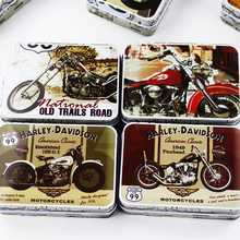Vintage Storage Tin Box Coin Jewelry Collectable Box Motorcycle Print Metal Candy Case 8 Piece Mac Cosmetic Lipstick Organizer