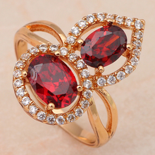 Top sell ! Luxury Fashion jewelry Red Garnet  Zircon Crystal  gold tone  Dinner Rings USA size #6 #5.75 #7 #6.75 JR1770