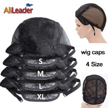 Alileader Wig Caps For Making Wig Best Quality Double Nets Lace Cap For Hair Extension Black XL/L/M/S Full Size Adjustable Cap(China)