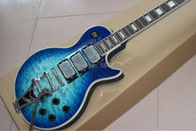 high quality lp custom electric jazz guitar blueburst quilted top 3 pickups jazz guitar lp custom guitar with bigsby