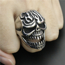 Drop Ship Size 8-13 Heavy Huge Fire Flam Skull Ring 316L Stainless Steel Cool Cross Ghost Skull Biker Ring(China)